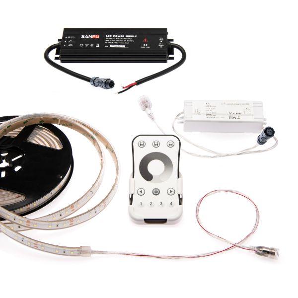 wasserfestes 12V LED Streifen Set mit Fernbedienung und Netzteil, 500cm Länge, Lichtfarbe weiß, IP65