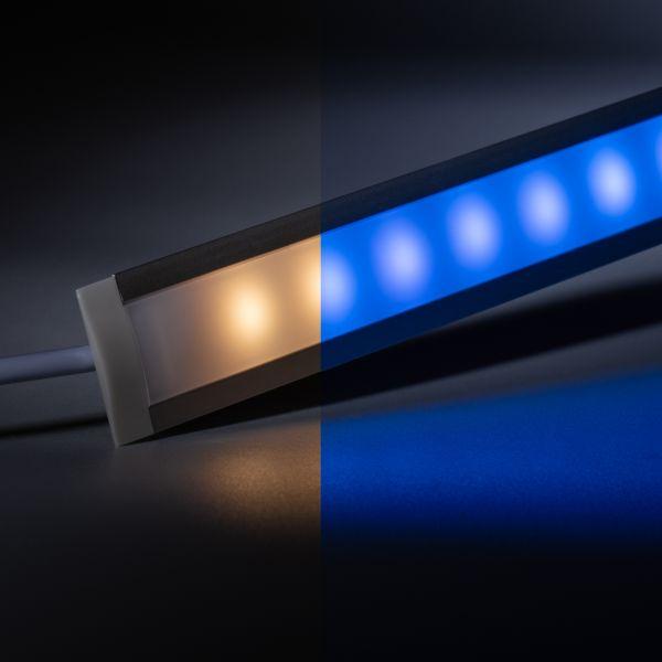 12V Aluminium Einbau LED Leiste schmal – RGBWW ( RGB + warmweiß ) – diffuse Abdeckung