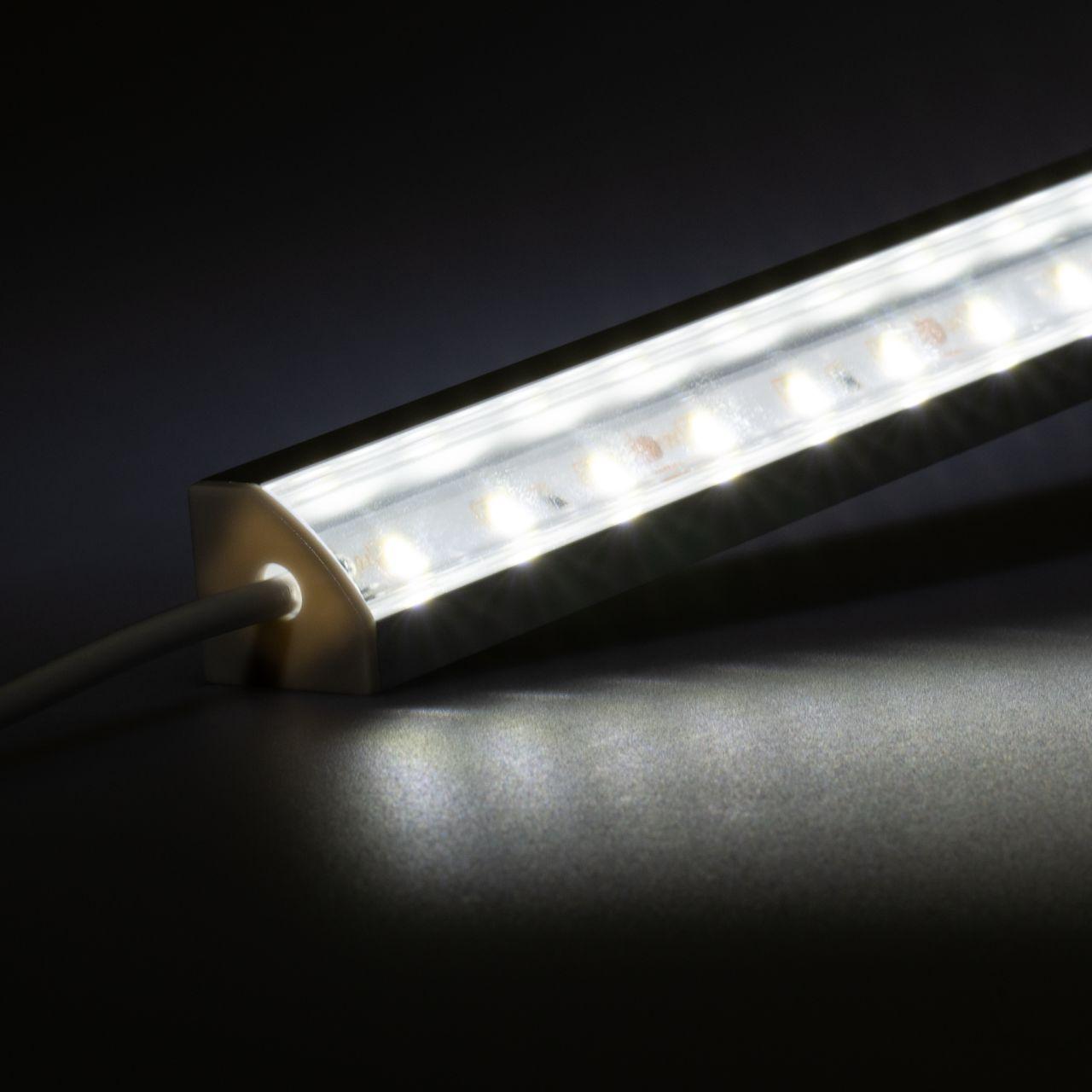 12V Aluminium LED Eckleiste – High Power - weiß – transparente Abdeckung