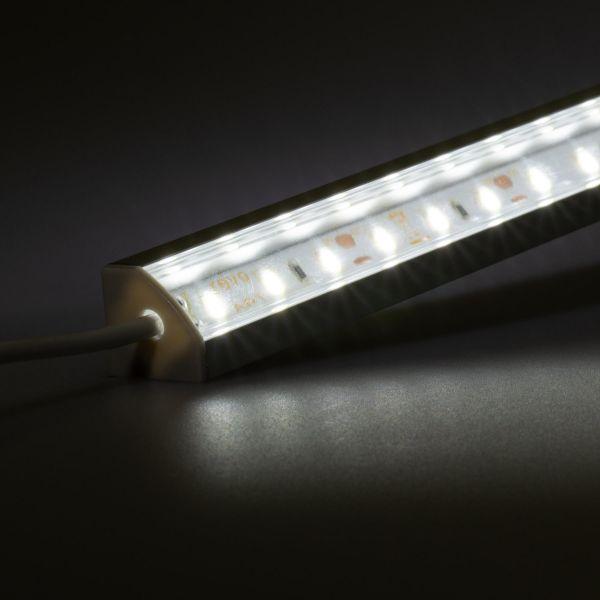 12V Aluminium LED Eckleiste – weiß – transparente Abdeckung
