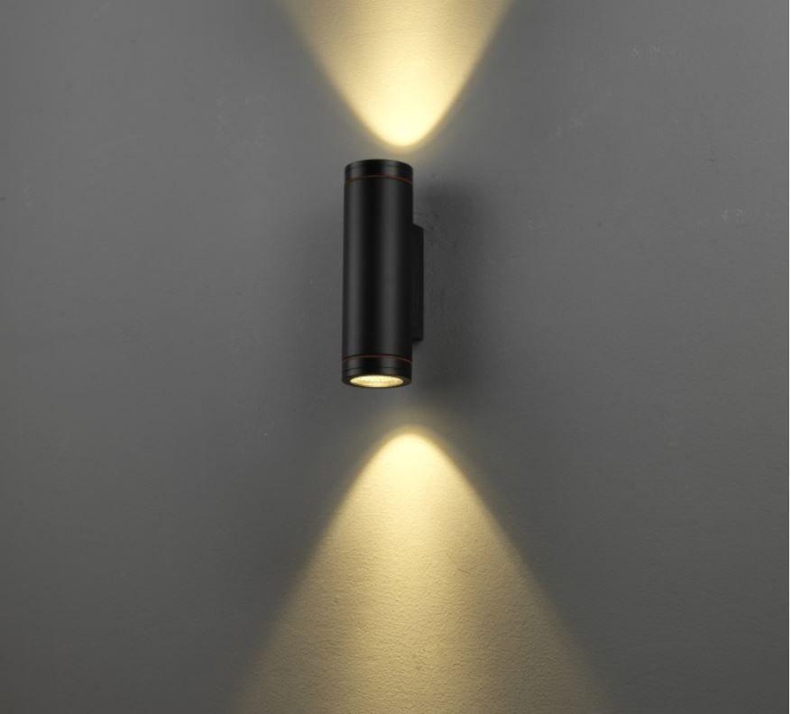 Wandleuchte 2-fach Lichtaustritt oben und unten rund, 2x6W, warmweiß 3000K, 230V, IP65