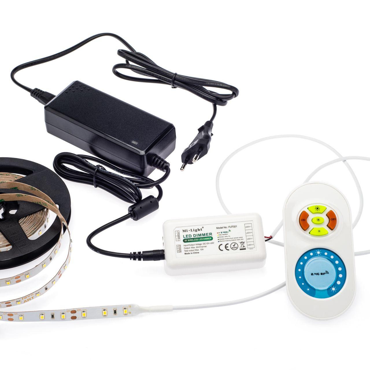 12V LED Streifen Set mit Fernbedienung und Netzteil, 250cm Länge, Lichtfarbe weiß