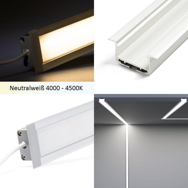 24V Aluminium Einbau LED Leiste – COB - tageslichtweiß – diffuse Abdeckung