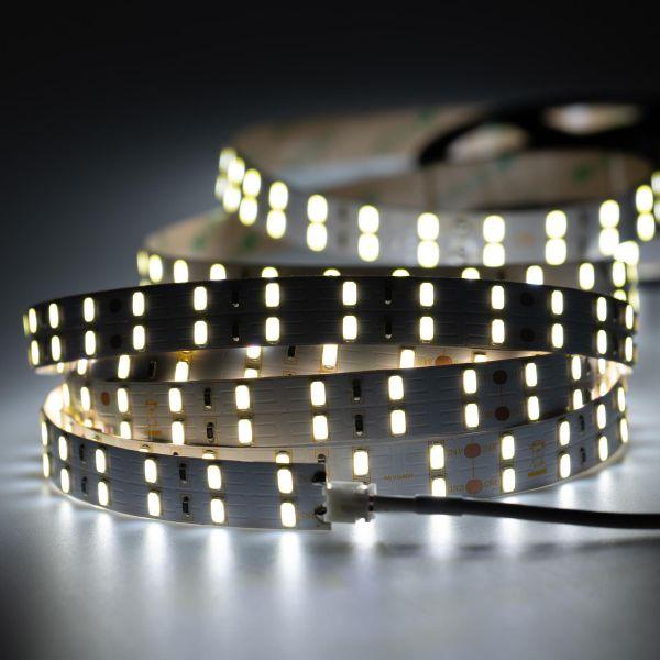 24V Double Line High-Power LED Streifen – weiß – 120 LEDs je Meter – alle 10cm teilbar - 500cm