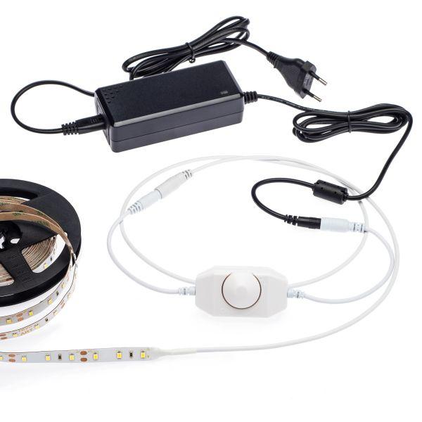 12V SET – weiß – 5m LED Streifen incl. Netzteil und Dimmer