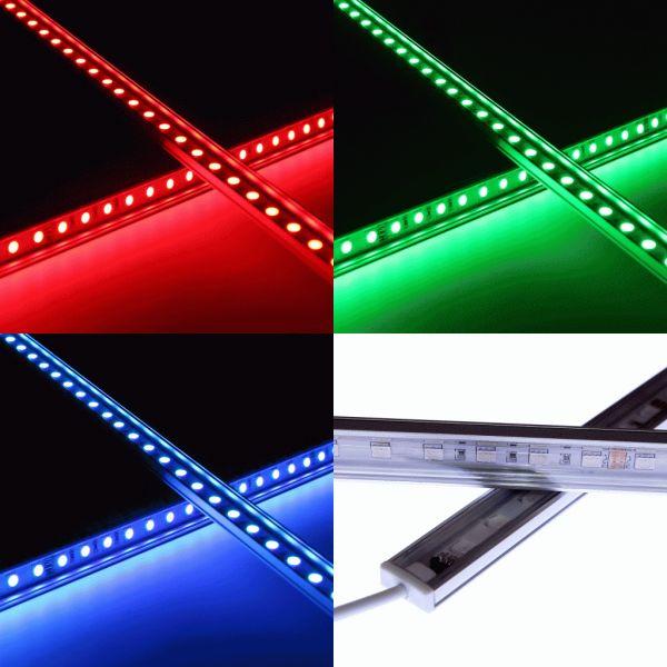 Slim-Line Alu LED-Leiste 120° - Abdeckung klar - 24V - RGB Farbwechsel
