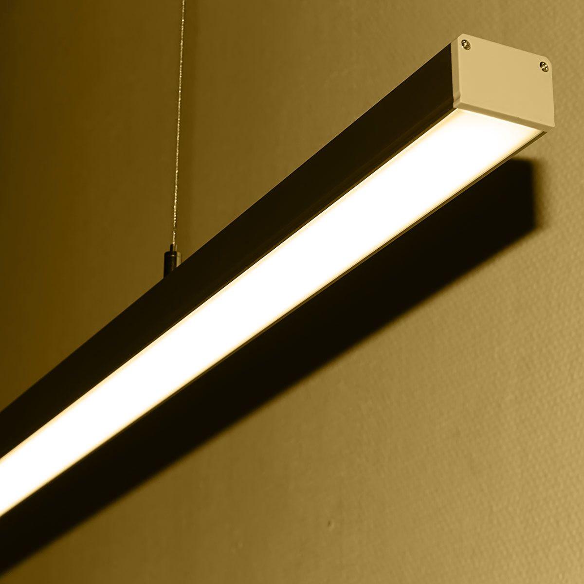 24V Aluminium LED Pendelleuchte – warmweiß – linear – diffuse Abdeckung