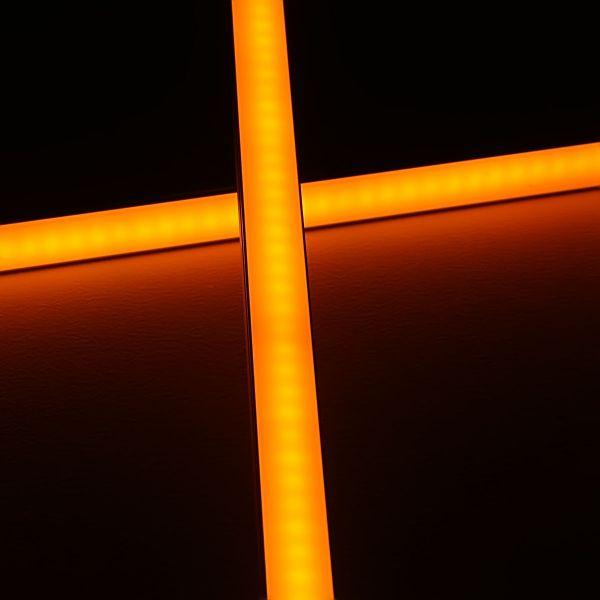 Slim-Line Alu LED-Leiste ab 33cm mit 42 LEDs bis 198cm mit 273 LEDs - Abdeckung diffus - 24V - gelb