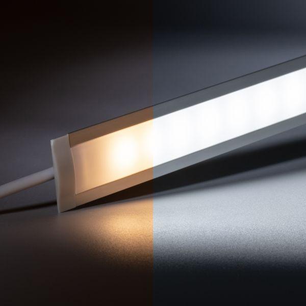 24V Aluminium Einbau LED Leiste schmal – Farbtemperatur einstellbar – diffuse Abdeckung