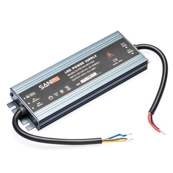 24V DC – wasserfestes Netzteil stabilisiert – 5A – 120Watt – IP67