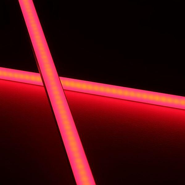 Slim-Line Alu LED-Leiste ab 33cm mit 42 LEDs bis 198cm mit 273 LEDs - Abdeckung diffus - 24V - rot