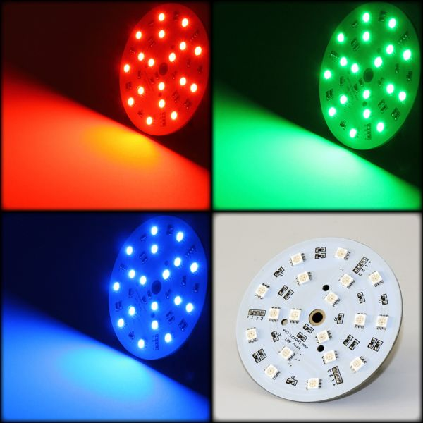 RGB LED Modul Cluster rund 80mm 18 x Power RGB SMD LEDs 12V - 120°