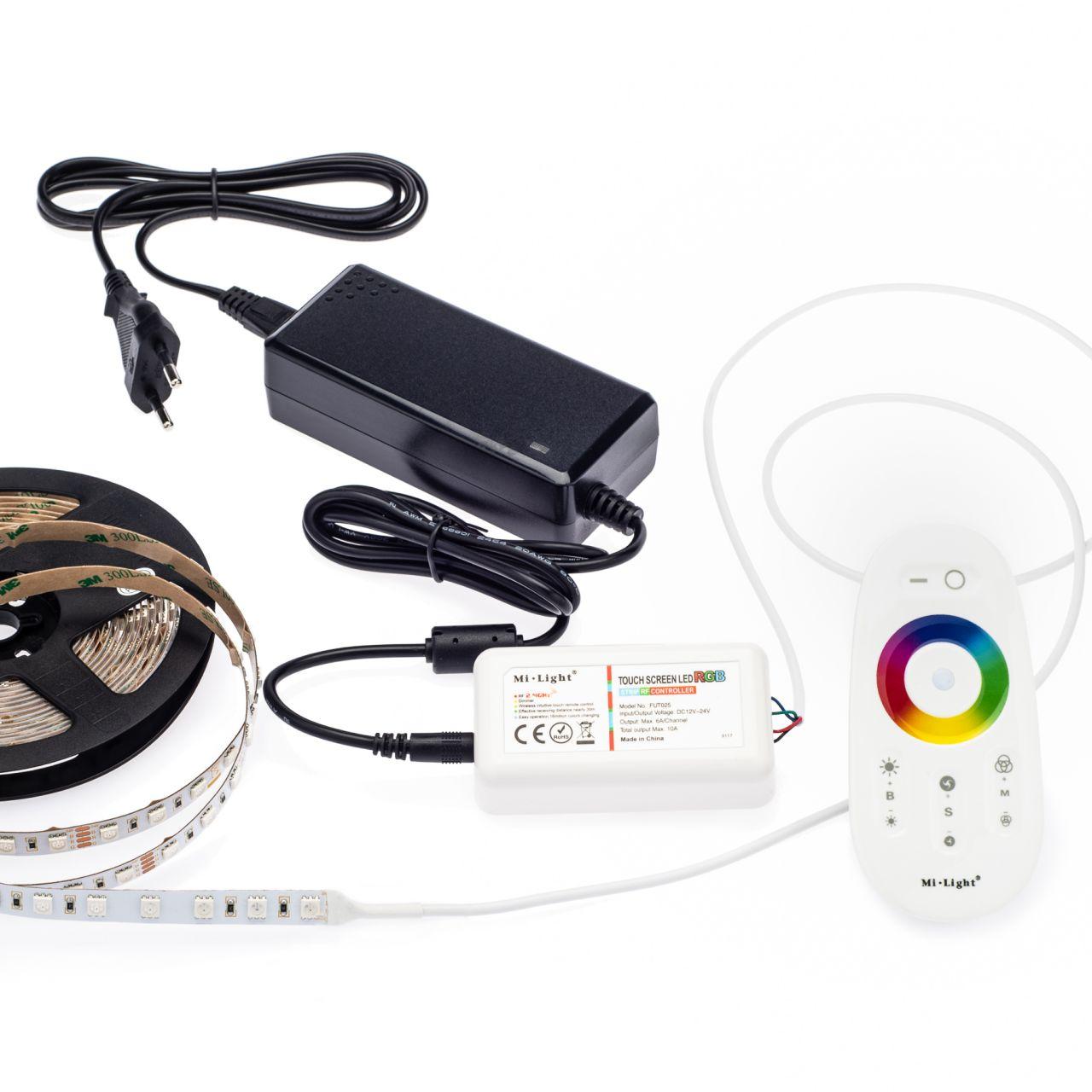 24V RGB LED Streifen Set mit Fernbedienung und Netzteil, 500cm Länge, Farbwechsel