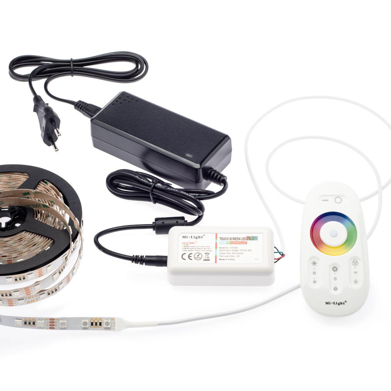 12V RGB LED Streifen Set mit Fernbedienung und Netzteil, 250cm Länge, Farbwechsel
