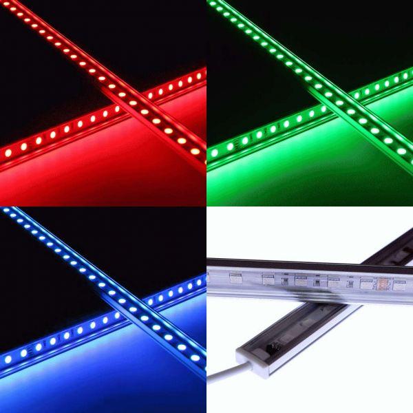 24V wasserfeste Aluminium LED Leiste – RGB – 100cm – transparente Abdeckung – IP65