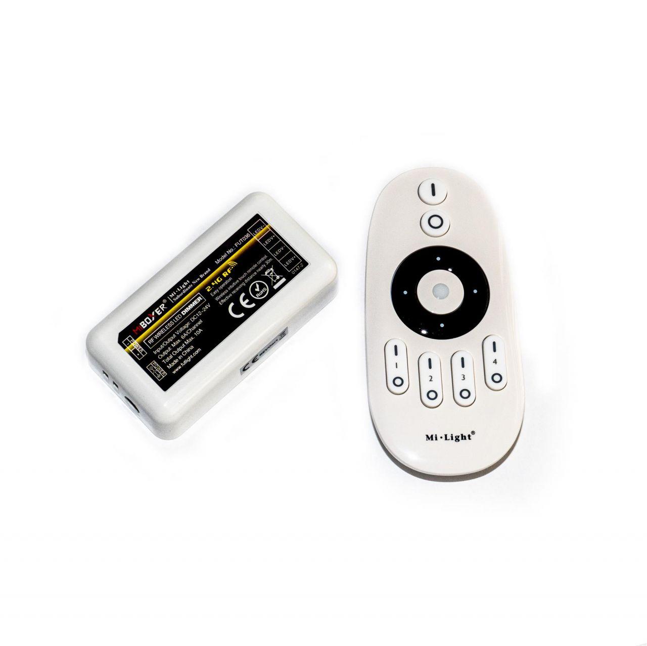 4 Zonen Funk LED Dimmer – 1 Kanal – mit Touch-Fernbedienung