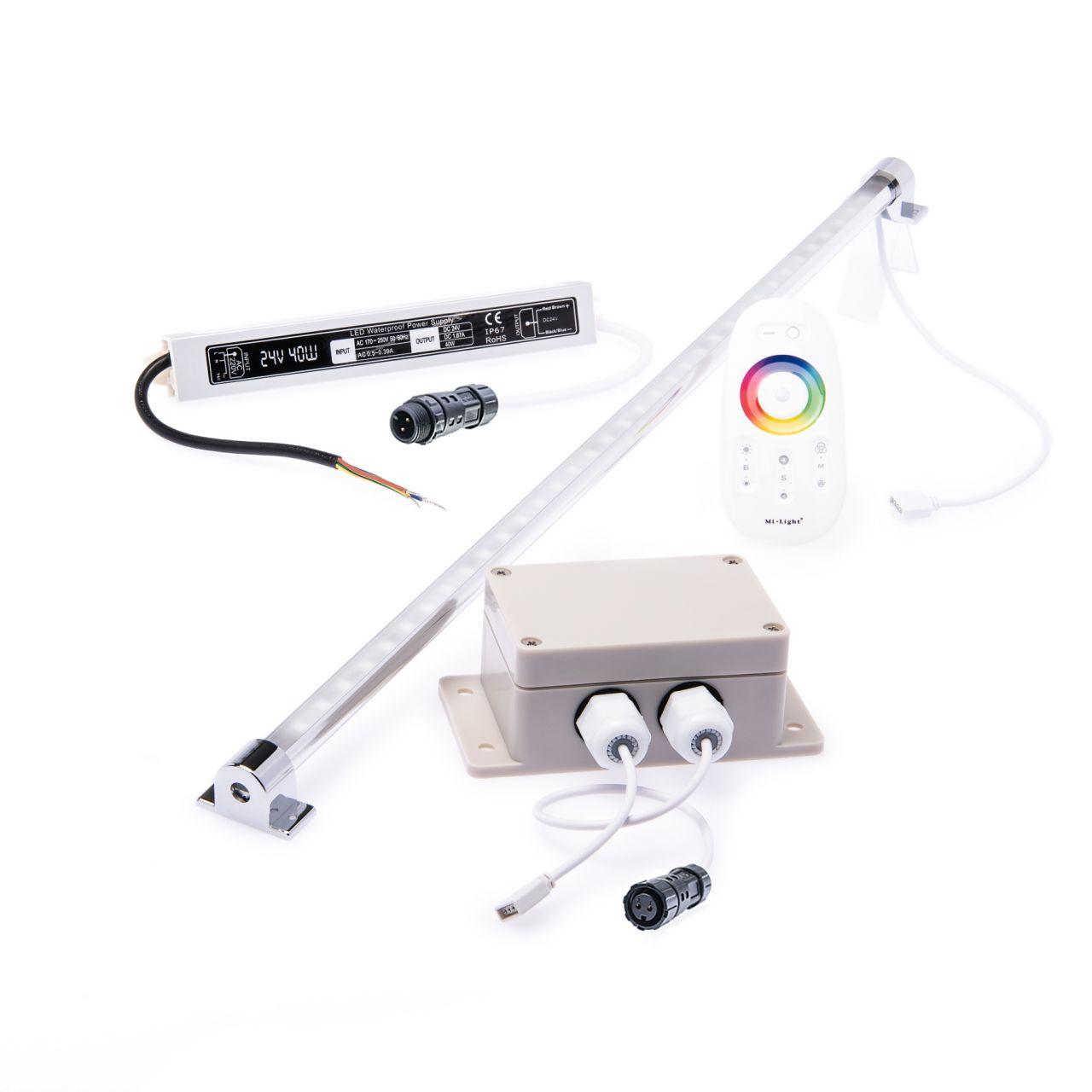 wasserfestes 24V LED Leisten Set mit Fernbedienung und Netzteil, 100cm Länge, Lichtfarbe RGB, IP65