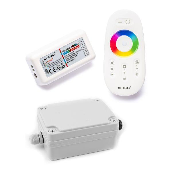 Funk LED Controller – 4 Kanal – RGBW – mit Touch-Fernbedienung inkl. wasserfestem Installationskaste