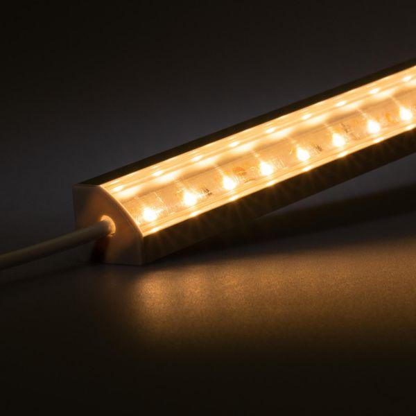 12V Aluminium LED Eckleiste – warmweiß – transparente Abdeckung