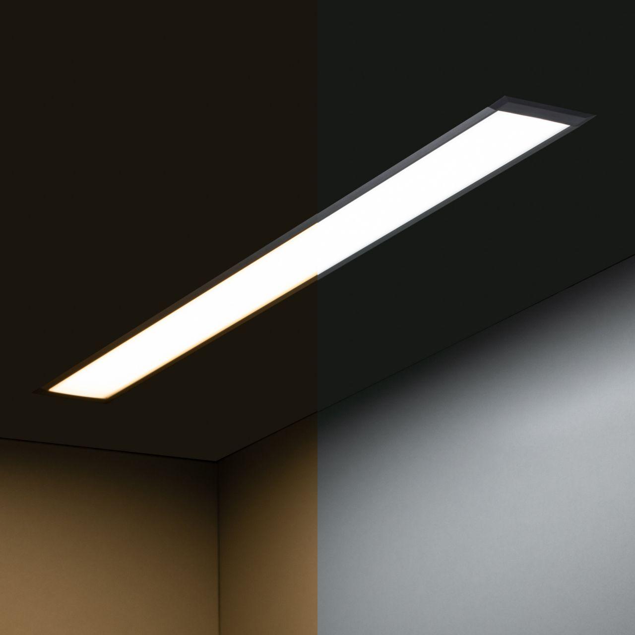 24V Aluminium LED Einbauleuchte – Farbtemperatur einstellbar – linear – diffuse Abdeckung