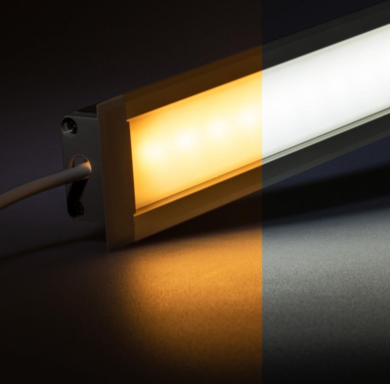 24V Aluminium Einbau LED Leiste – einstellbare Farbtemperatur – diffuse Abdeckung
