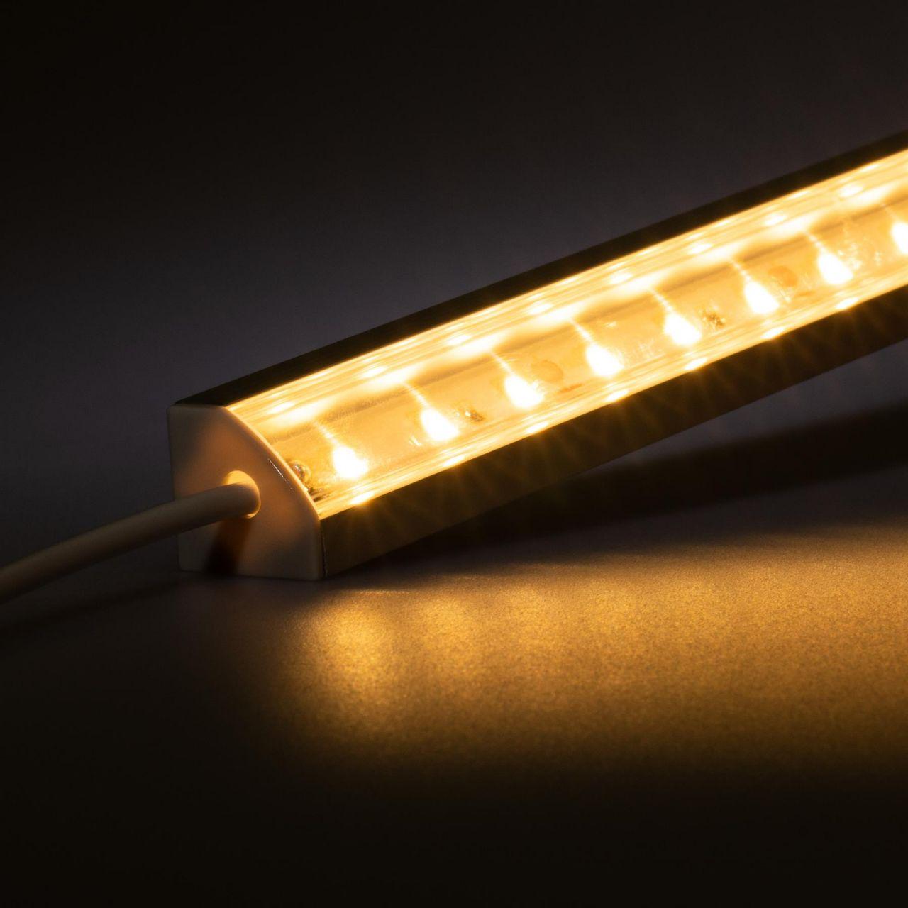12V Aluminium LED Eckleiste – High Power - warmweiß – transparente Abdeckung