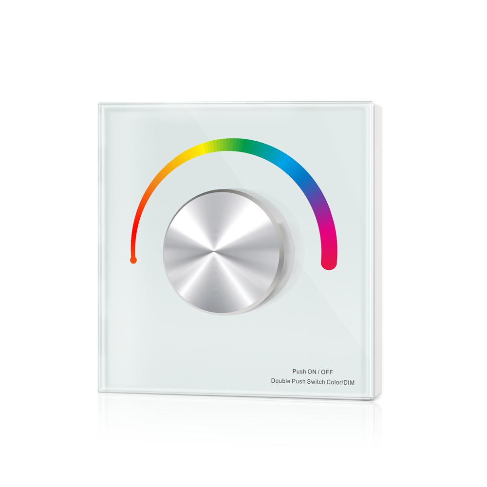Wand-Einbaudimmer 3-Kanal RGB mit Drehregler weiß 12-24V DC