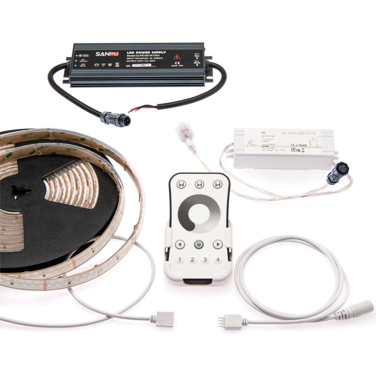 wasserfestes 24V LED Streifen Set mit Fernbedienung und Netzteil, 500cm Länge, Lichtfarbe weiß, IP65