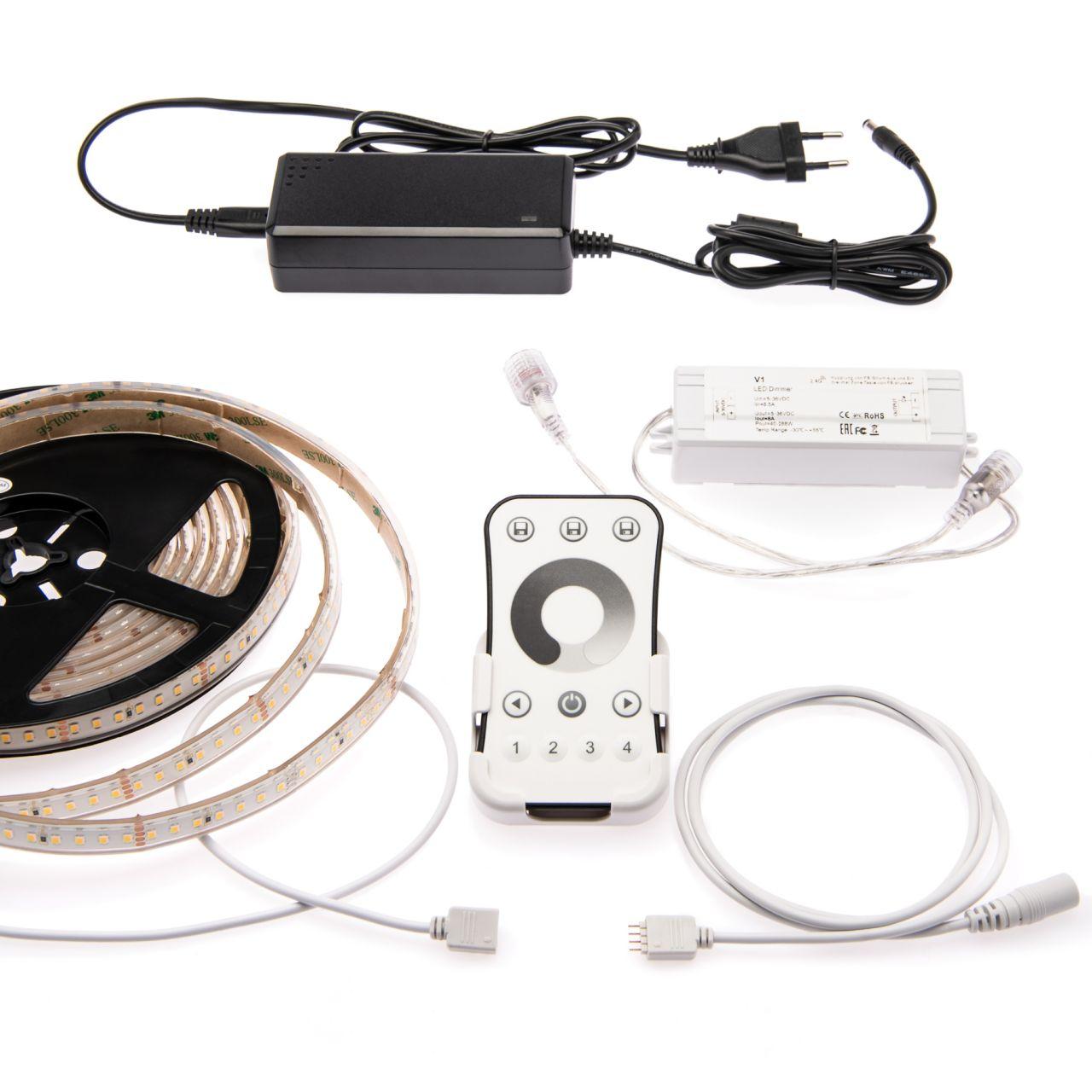 wasserfestes 24V LED Streifen Set mit Fernbedienung und Netzteil, 500cm Länge, Lichtfarbe warmweiß,