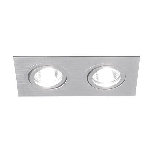 LED-Einbauleuchte Duo- silber - 17,4 x 9,3cm - eckig