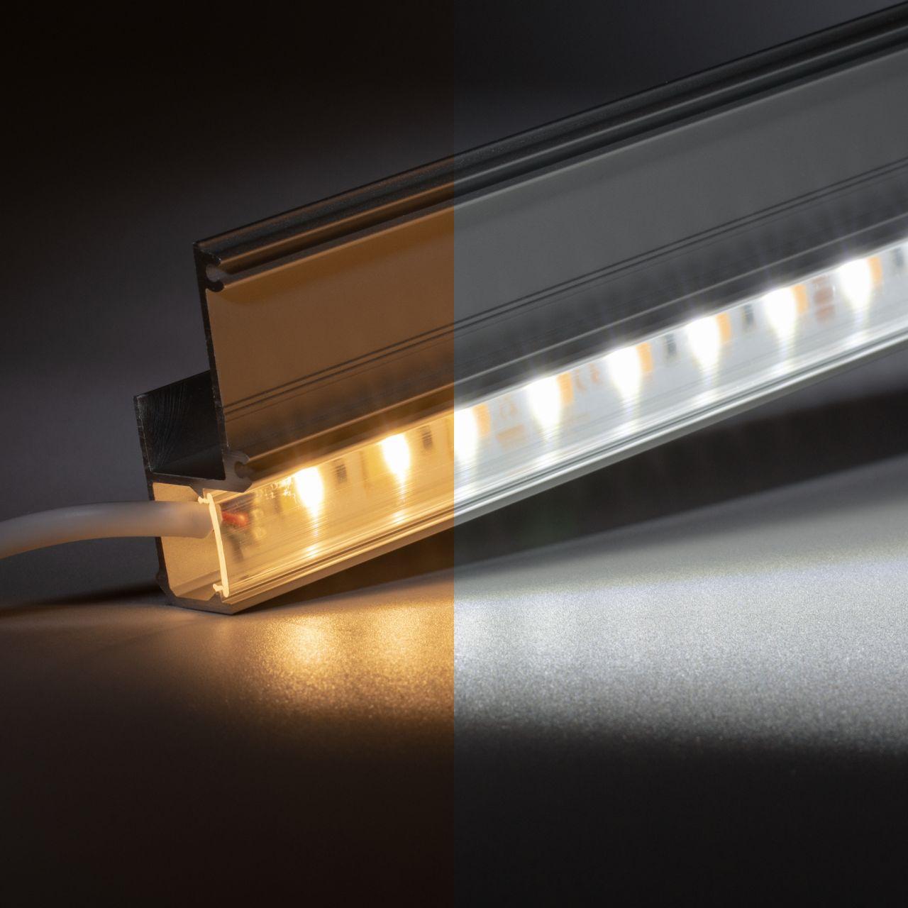 24V Aluminium Trockenbau Abschluss LED Leiste – einstellbare Farbtemperatur – transparente Abdeckung