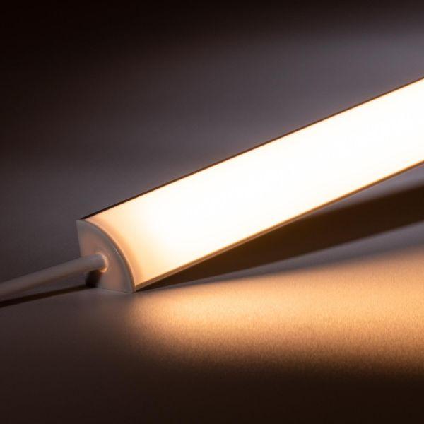 24V Aluminium LED Eck Leiste rund – warmweiß – diffuse Abdeckung