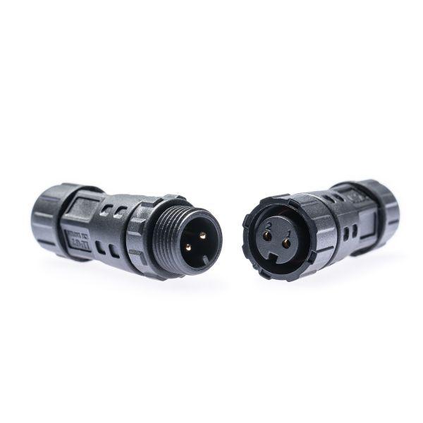 Kabelverbinder/ - Kupplung M12 2-polig schwarz wasserfest zum Löten