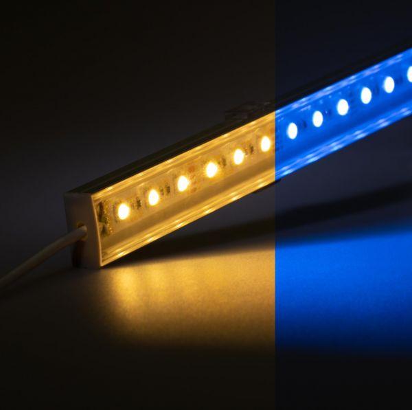 12V Slim Line Aluminium LED Leiste – RGBW ( RGB & warmweiß ) – transparente Abdeckung