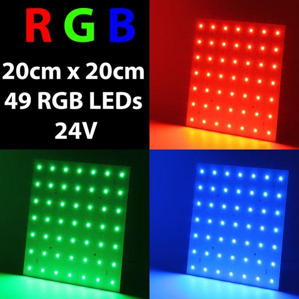 MATRIX-Modul Cluster LED-Panel 200mmx200mm mit 49 x 5050 RGB SMD LEDs - 24V