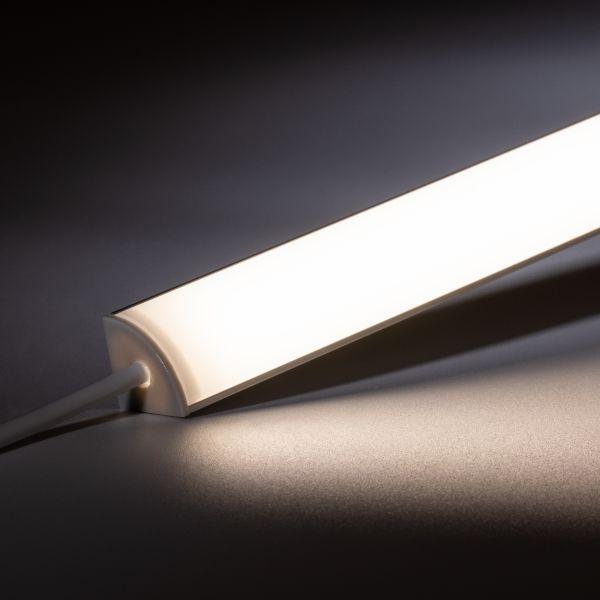 24V Aluminium LED Eck Leiste rund – tageslichtweiß – diffuse Abdeckung
