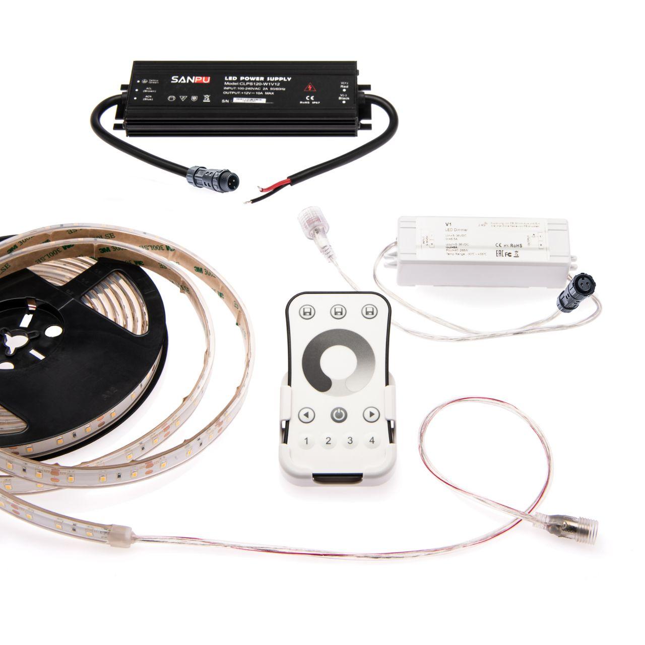wasserfestes 12V LED Streifen Set mit Fernbedienung und Netzteil, 500cm Länge, Lichtfarbe warmweiß,