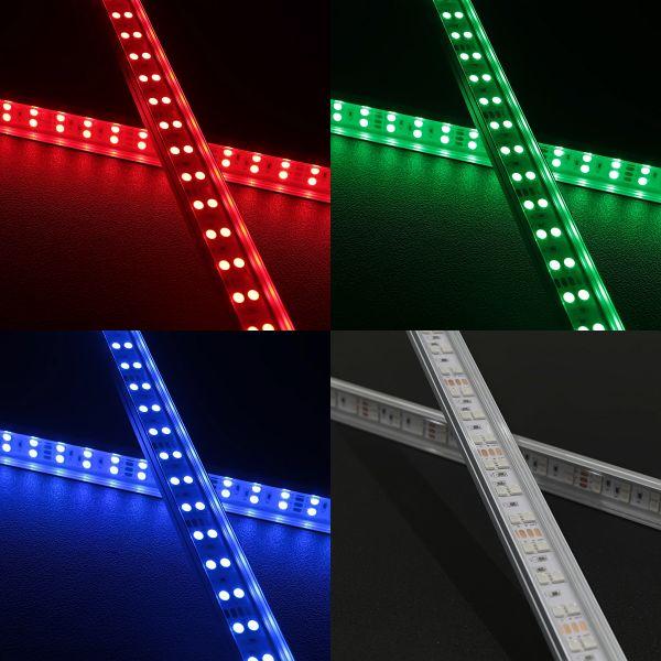 Double-Line RGB-LED-Leiste 24V - ab 23cm mit 24x RGB LEDs - klare Abdeckung