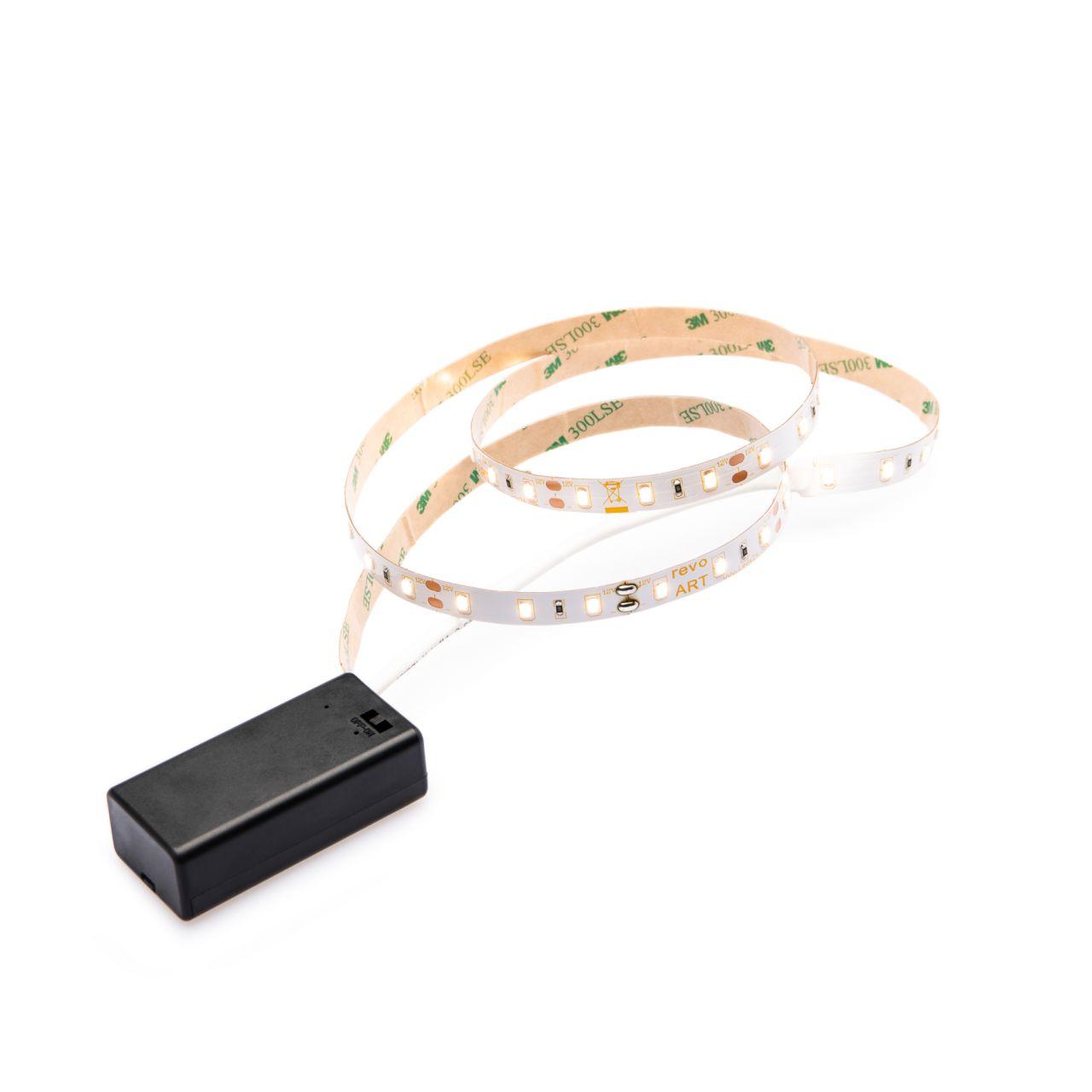batteriebetriebenes LED Streifen Set, Lichtfarbe Warmweiß, 9V Block