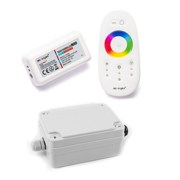 Funk LED Controller – 3 Kanal – RGB – mit Touch-Fernbedienung inkl. wasserfestem Installationskasten