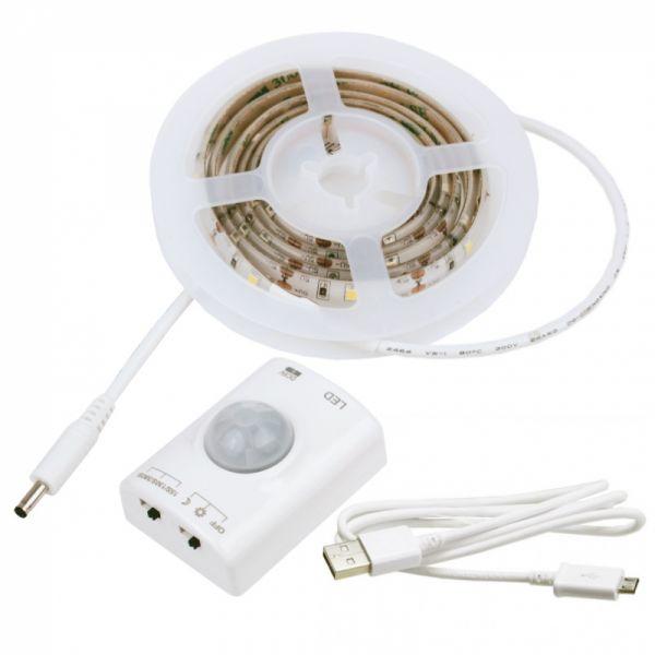 Komplettset 5V DC 100cm LED-Streifen mit Bewegungs- und Lichtsensor + Li-Akku IP20