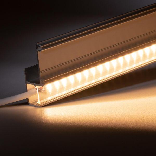 24V Aluminium Trockenbau Abschluss LED Leiste – warmweiß – transparente Abdeckung
