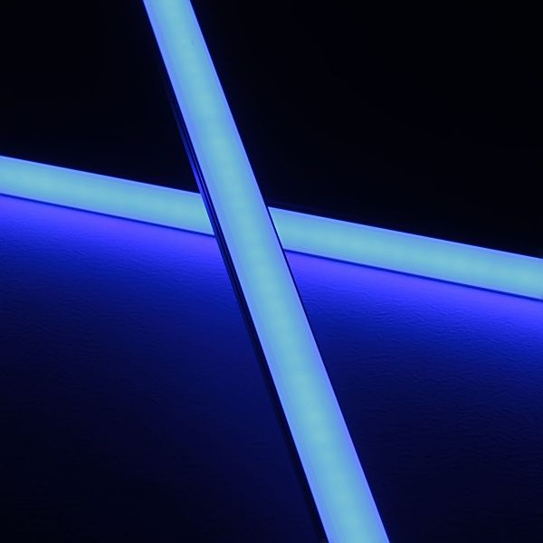 Slim-Line Alu LED-Leiste ab 33cm mit 42 LEDs bis 198cm mit 273 LEDs - Abdeckung diffus - 24V - blau