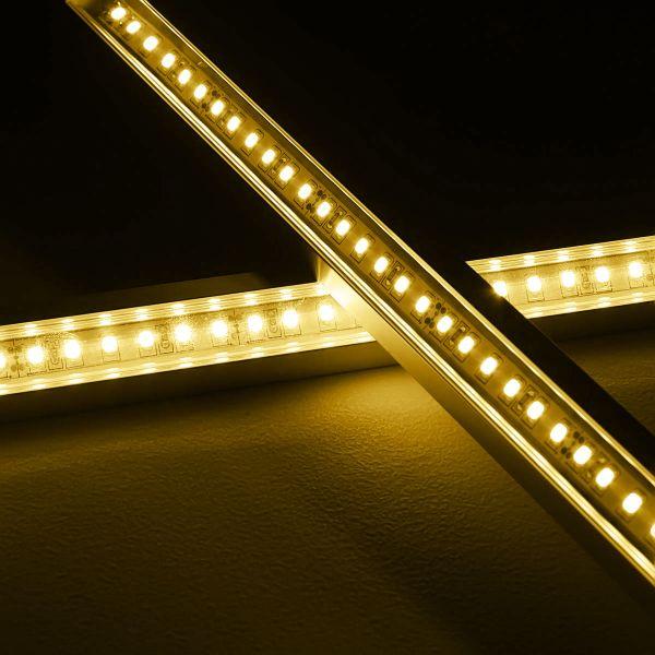 24V LED-Eckleiste mit klarer Abdeckung - warmweiß 2700K - ab 33cm mit 42 LEDs bis 198cm mit 273 LEDs