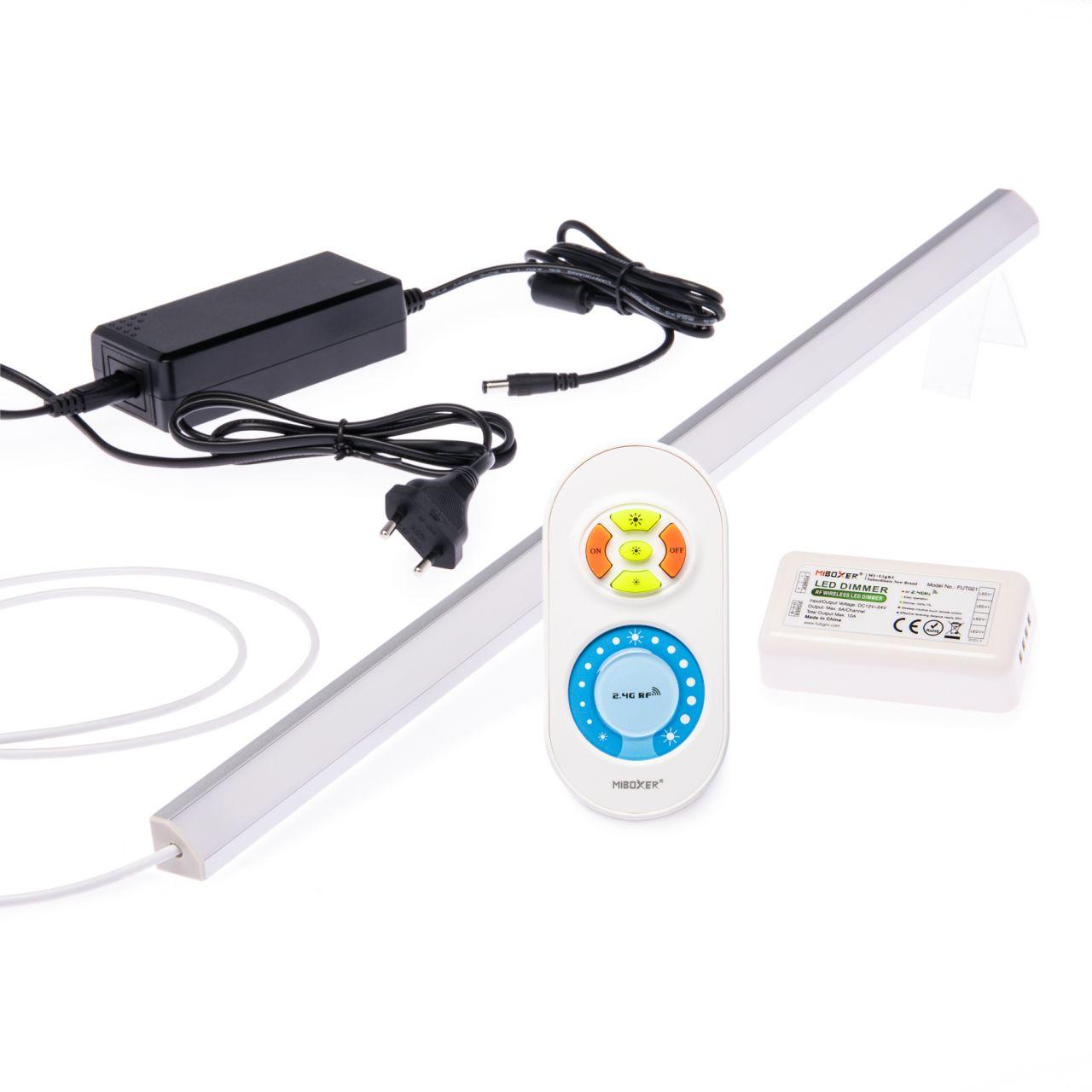 24V LED Eckleisten Set mit Fernbedienung und Netzteil, 98cm Länge, Lichtfarbe warmweiß