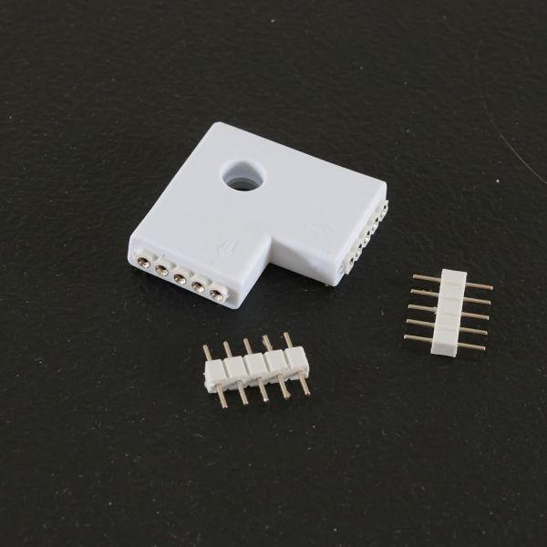 """Eckverbinder flach 2x5polig """"Quick-System 5polig 2.54"""" weiß"""