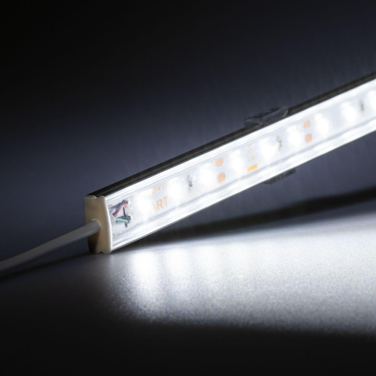 12V Slim Line Aluminium LED Leiste – weiß – transparente Abdeckung
