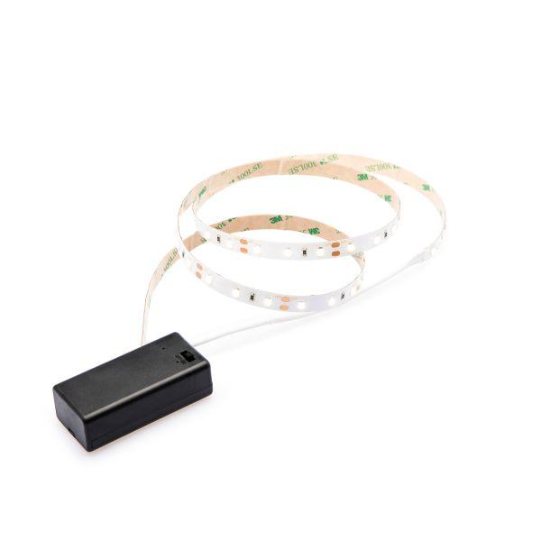 batteriebetriebenes LED Streifen Set, Lichtfarbe Weiß, 9V Block
