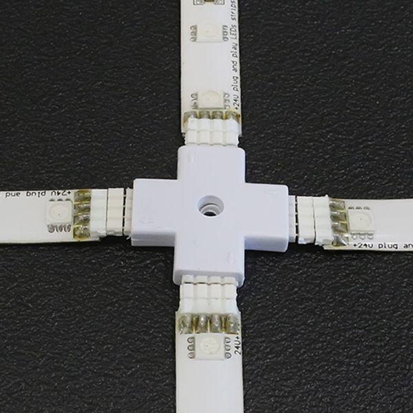 """4x4poliger Kreuzverbinder """"Quick-System 4polig 2.54"""" weiß"""