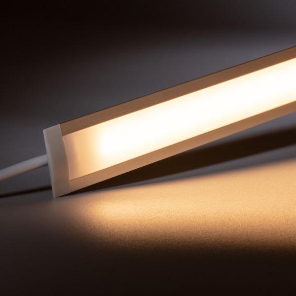 24V Aluminium Einbau LED Leiste schmal – warmweiß – diffuse Abdeckung